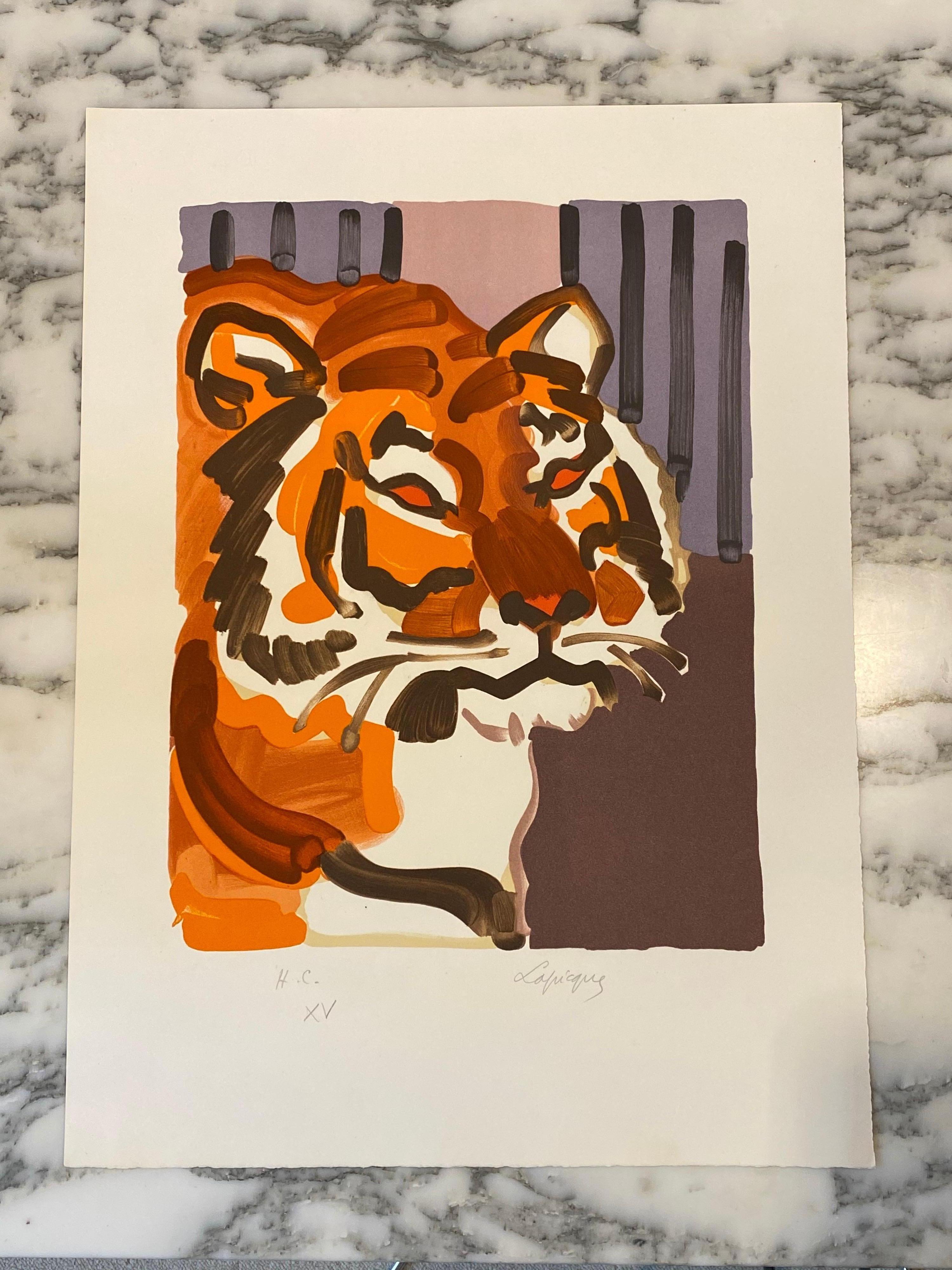 """French Artist Original Lithography, The Tiger"""" HC, Hand Signed, 1980"""