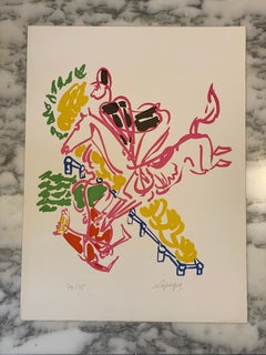 French Artist Original Lithographyt, The Horse Fall Limited Edition, 1952