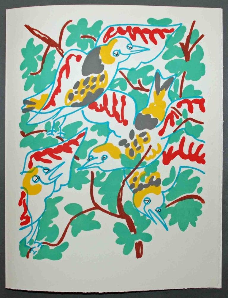 Le Chant des Oiseaux - Gray Landscape Print by Charles Lapicque