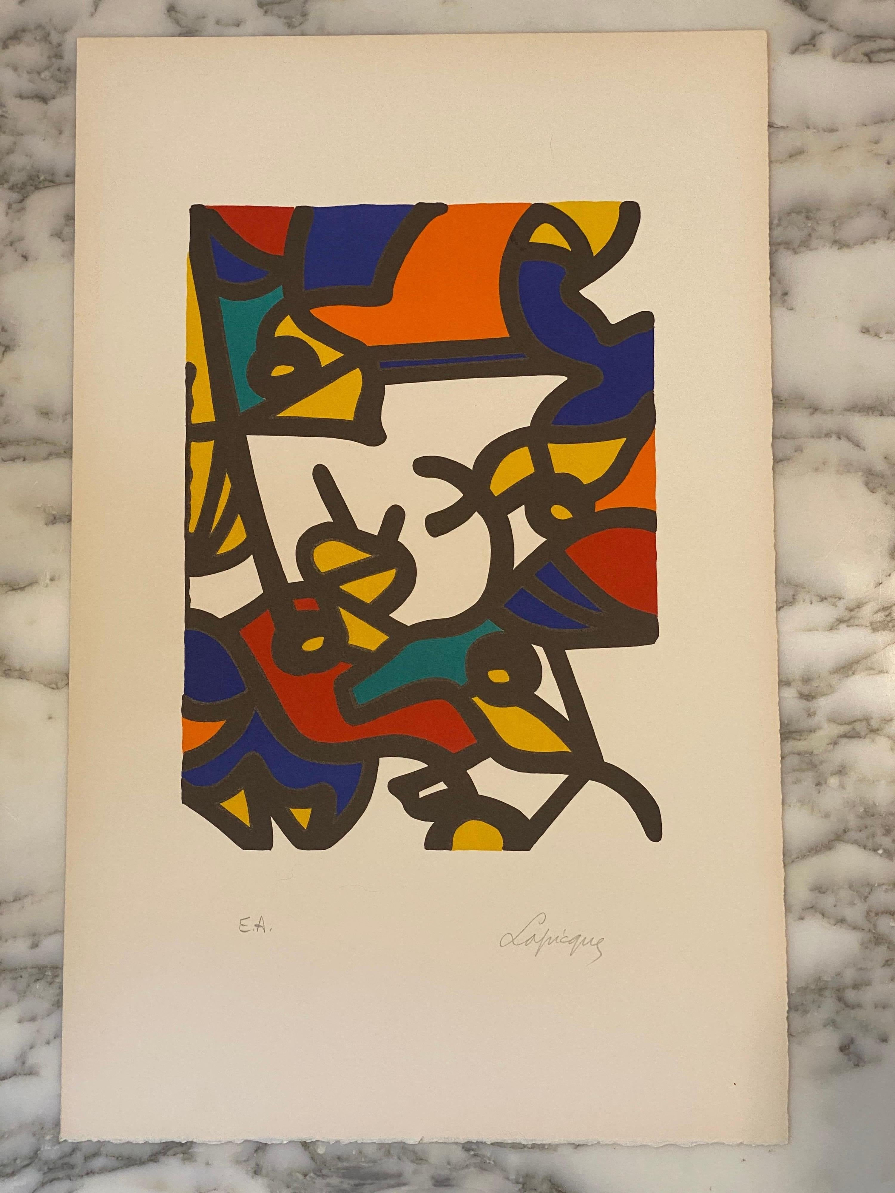 French Artist Original Lithography, The  Birdcatcher,  EA, Artist Proof,  1962