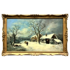 Charles Leaver, 19th Century Oil on Canvas Wintry Village Scene Painting