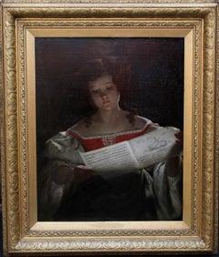 The Music Score - Scottish Victorian art Old Master female portrait oil painting