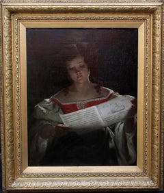 The Music Score - Scottish Victorian art Old Master female portrait oil painting