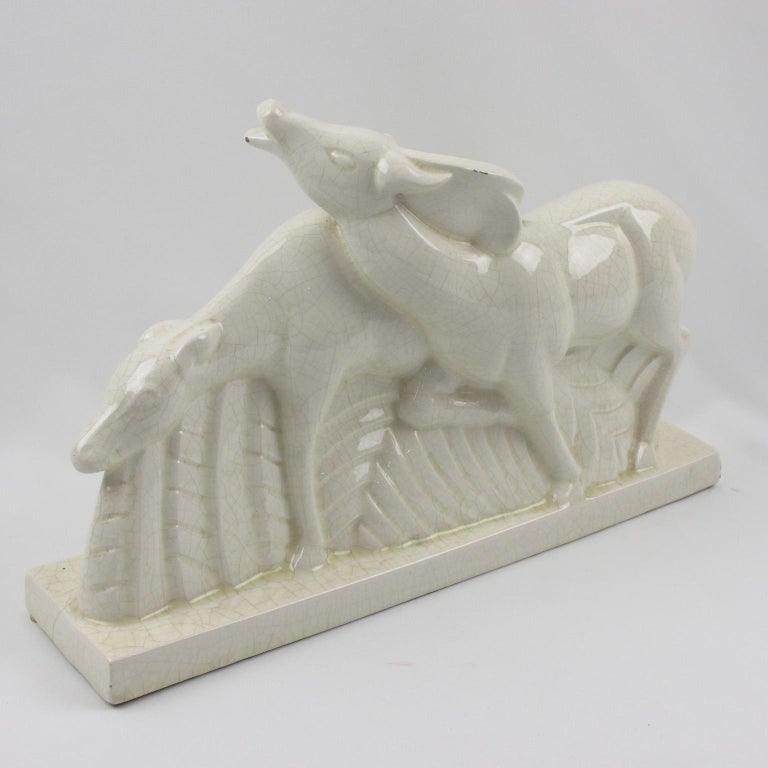 Charles Lemanceau for Saint Clement French Art Deco Crackle Ceramic Antelopes In Good Condition For Sale In Atlanta, GA