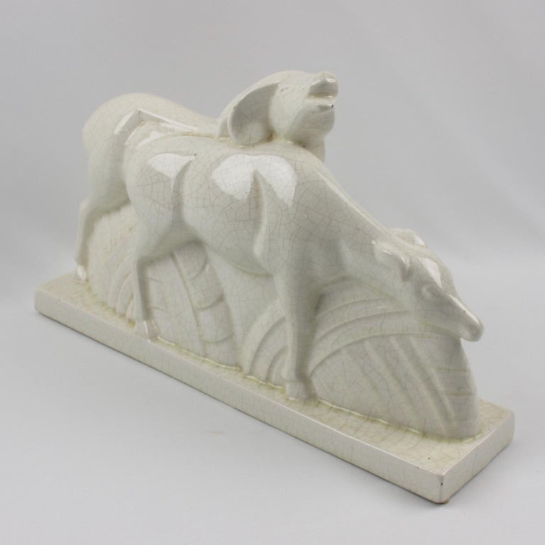 Early 20th Century Charles Lemanceau for Saint Clement French Art Deco Crackle Ceramic Antelopes For Sale