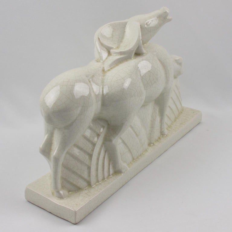 Charles Lemanceau for Saint Clement French Art Deco Crackle Ceramic Antelopes For Sale 3