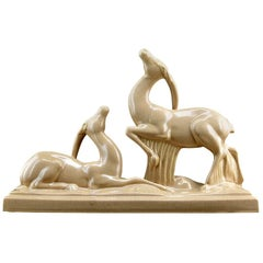 Charles Lemanceau French Art Deco Ceramic Antelopes