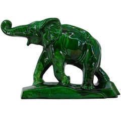 Charles Lemanceau French Art Deco Elephant Statue, 1930s