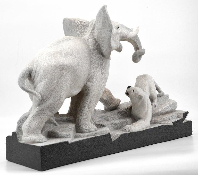 Mid-20th Century Charles Lemanceau French Art Deco Elephant Vs Lioness Sculpture, 1930s For Sale