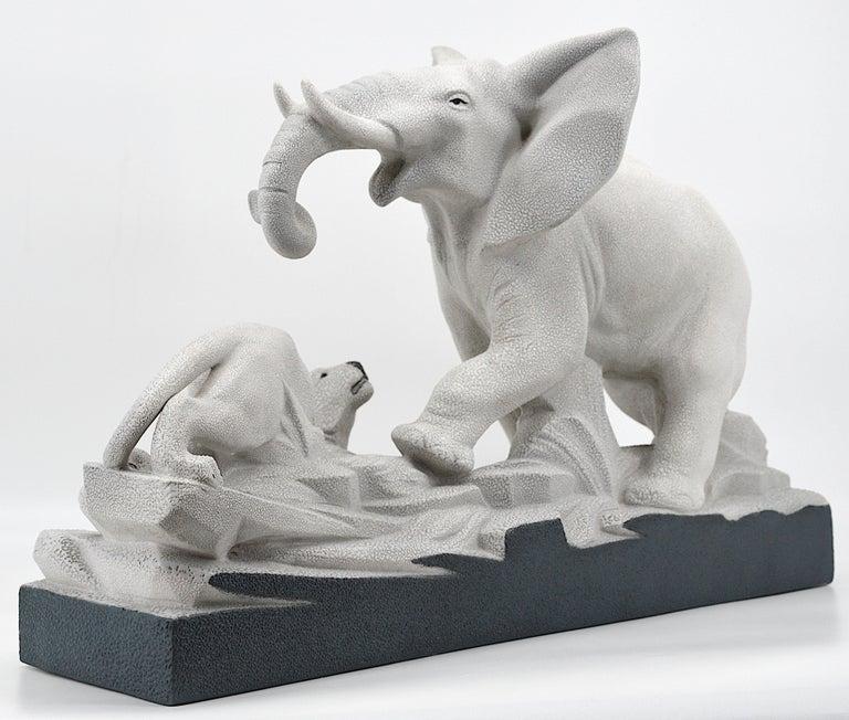 Ceramic Charles Lemanceau French Art Deco Elephant Vs Lioness Sculpture, 1930s For Sale