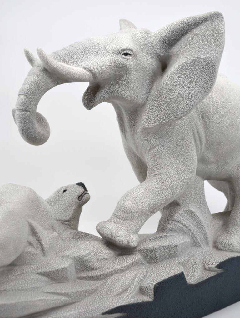 Charles Lemanceau French Art Deco Elephant Vs Lioness Sculpture, 1930s For Sale 1