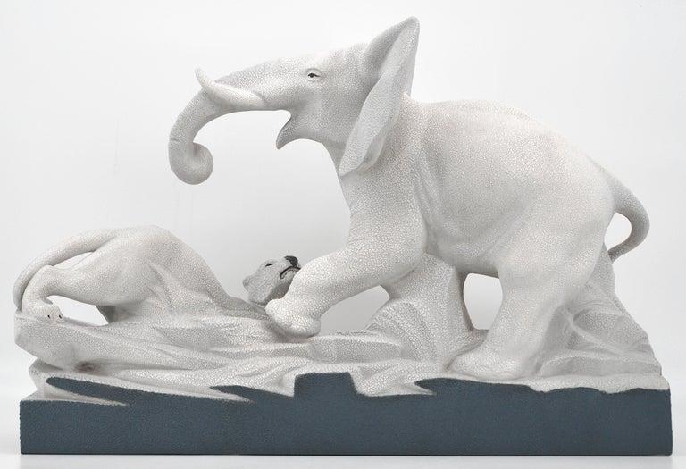 Charles Lemanceau French Art Deco Elephant Vs Lioness Sculpture, 1930s For Sale 2
