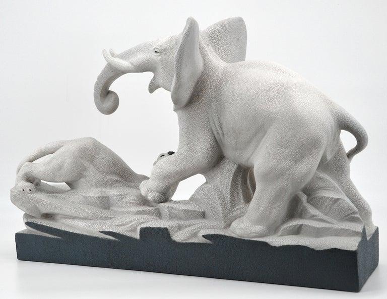 Charles Lemanceau French Art Deco Elephant Vs Lioness Sculpture, 1930s For Sale 3