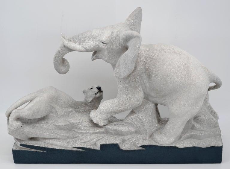 Charles Lemanceau French Art Deco Elephant Vs Lioness Sculpture, 1930s For Sale 4