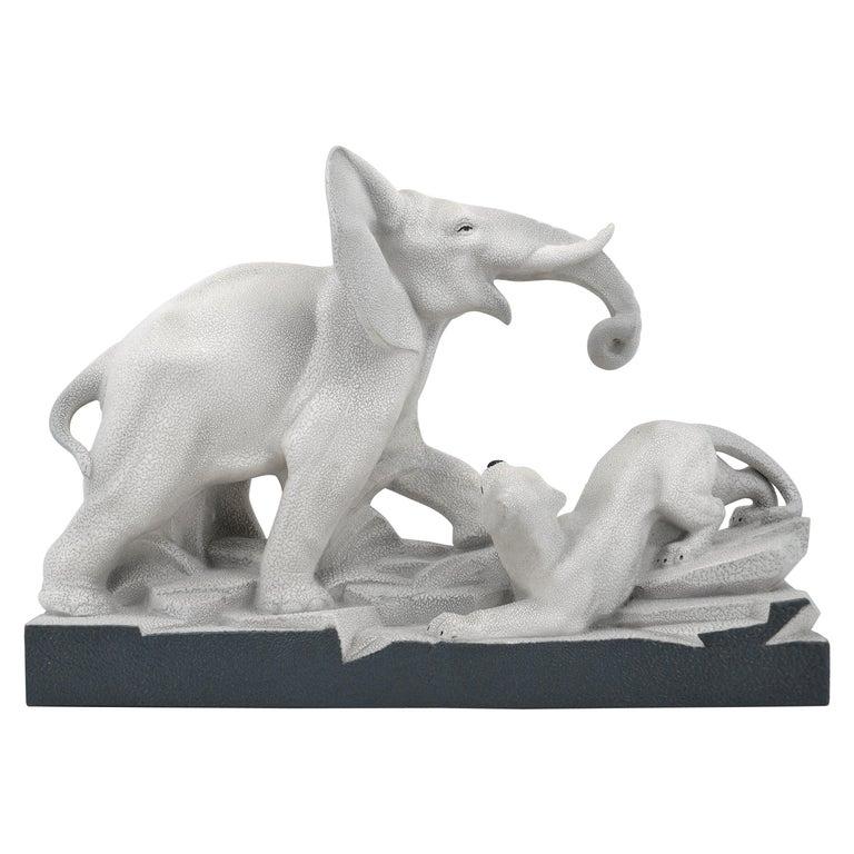 Charles Lemanceau French Art Deco Elephant Vs Lioness Sculpture, 1930s For Sale