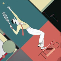 1990 Charles Lepas 'Tennis' Contemporary Multicolor,Blue,Pink France Serigraph
