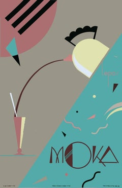 1992 Charles Lepas 'Moka' Art Deco Green,Pink France Serigraph