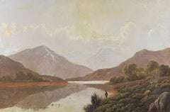 Charles Leslie (1839-1886) Signed Victorian Oil - Angler Scottish Highlands Loch