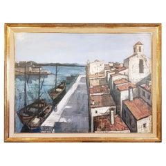 "Charles Levier Large Scale ""Un Port"" Original Oil Painting, circa 1950s"