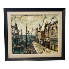 Charles Levier Painting of French Port and Boats