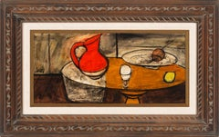 [Avec Pichet Rouge] Still Life Oil Painting on Canvas by Charles Levier, Framed