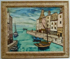 """""""Boats in a Canal"""" Oil on Canvas 24 x 30"""