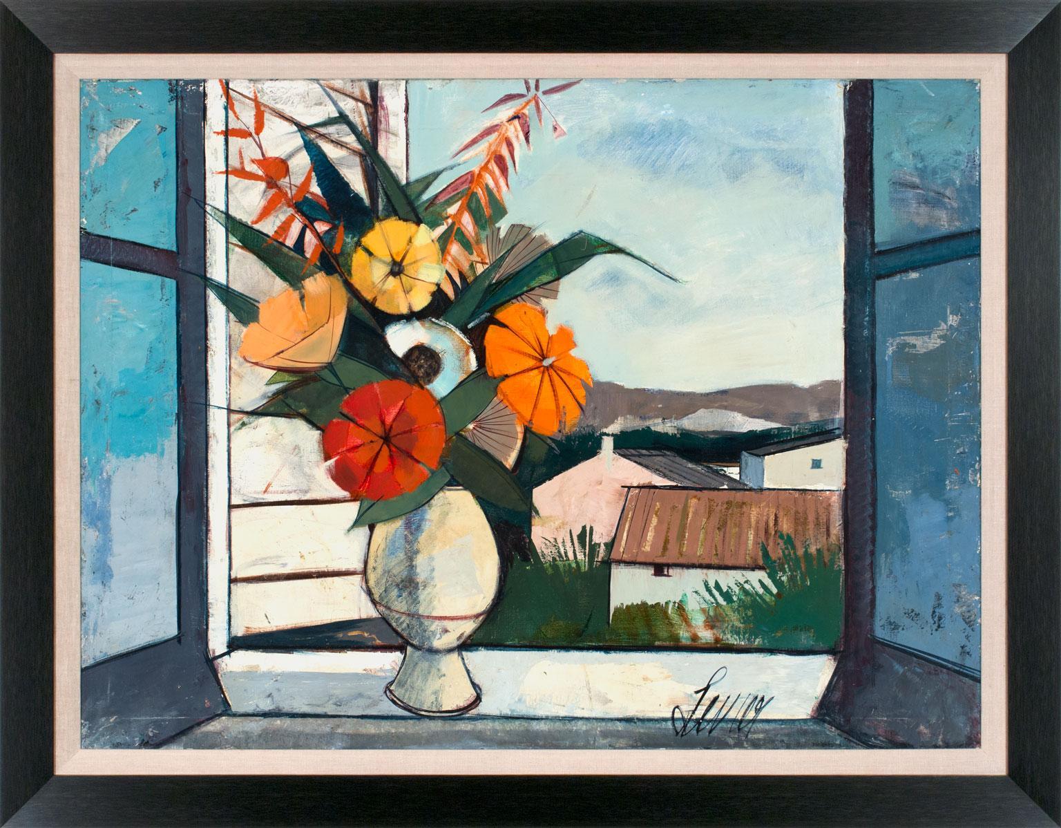 """Bouquet de Printemps"" Large 4-Foot Landscape Painting by Charles Levier, Framed"