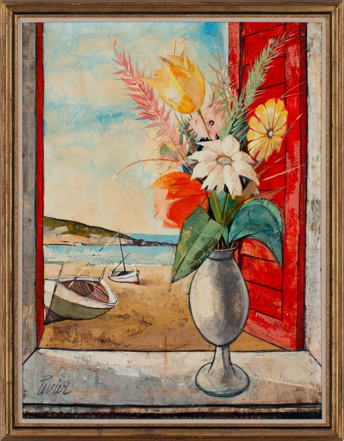 """Bouquet Sur La Plage"" Large Landscape Painting by Charles Levier, Framed"