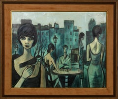 Café Scene in Paris, Oil Painting by Charles Levier