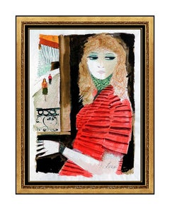 Charles Levier Gouache Painting Original Signed Female Figurative Portrait Art