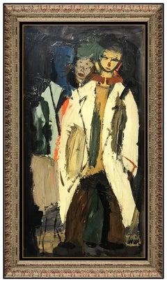 Charles Levier Large Original Oil Painting on Board Signed Portrait Framed Art