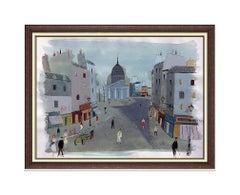 Charles Levier Large Original Paris France Cityscape Gouache Painting Signed Art
