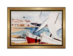 Charles Levier Original Gouache Painting Signed French Seascape Art Harbor oil