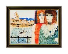 Charles Levier Original Painting Female Portrait Signed Boat Harbor Landscape