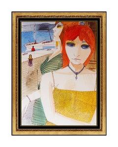 Charles Levier Original Painting Gouache Signed Female Portrait Seascape Artwork