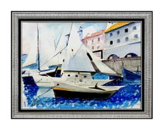 Charles Levier Original PAINTING Seascape Harbor Large SIGNED Authentic Artwork