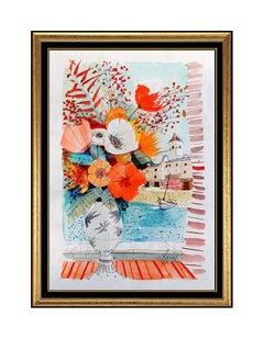 Charles Levier Original Still Life Painting Gouache Signed Artwork Seascape SBO