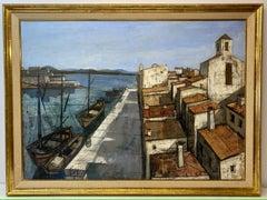 """Charles Levier """"Un Port"""" Original Oil Painting c.1950"""
