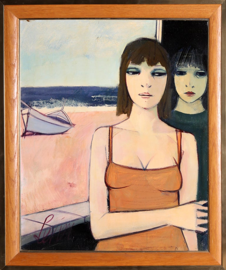 Deux Jeune Filles (Two Young Girls)  Charles Levier, French (1920–2003) Date: circa 1965 Oil on Canvas, signed l.l. Size: 24 x 20 in. (60.96 x 50.8 cm) Frame Size: 28 x 24 inches