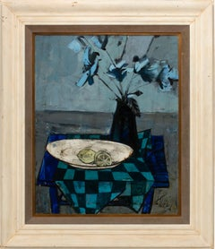 """""""Fleurs et Citrons"""" Still Life Oil Painting on Canvas by Charles Levier, Framed"""
