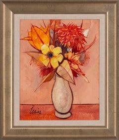 """""""Fleurs"""" Floral Still Life Oil Painting on Canvas by Charles Levier, Framed"""