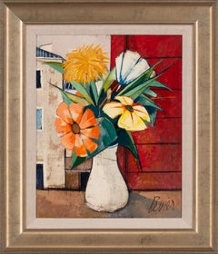"""""""Fleurs"""" Framed Floralscape/Cityscape Oil on Canvas by Charles Levier"""