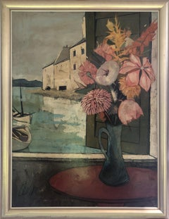 Flowers in Window, Oil Painting by Charles Levier