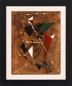 [Géométrique Marron] Abstract Geometric Oil Painting by Charles Levier, Framed