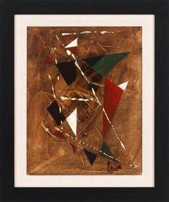 [Géométrique Marron] Framed Abstract Geometric Oil Painting by Charles Levier