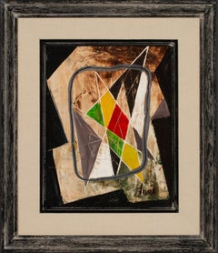 [Géométrique Noir] Abstract Geometric Oil Painting by Charles Levier, Framed