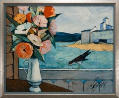 """""""Le Fleurs"""" Still Life and Landscape Oil Painting by Charles Levier, Framed"""