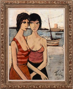 """Les Amies II"" Large Framed Figurative Painting by Charles Levier"