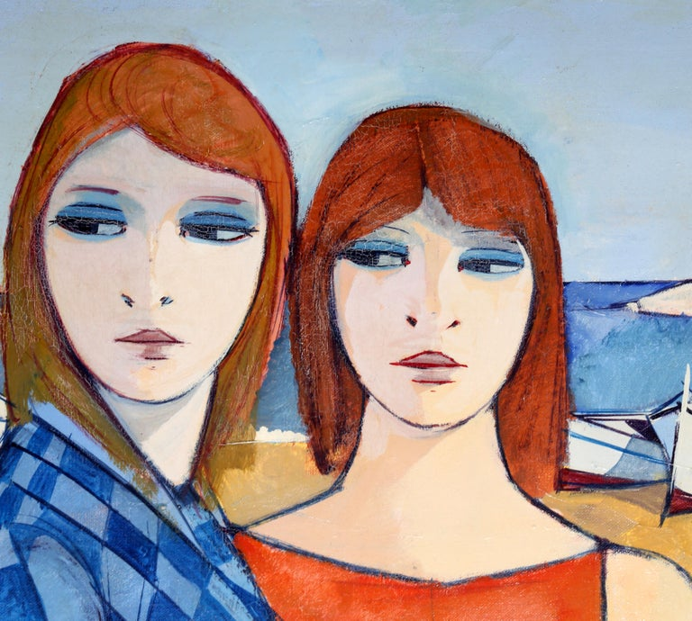 Les Soeurs (The Sisters), Oil Painting by Charles Levier For Sale 1
