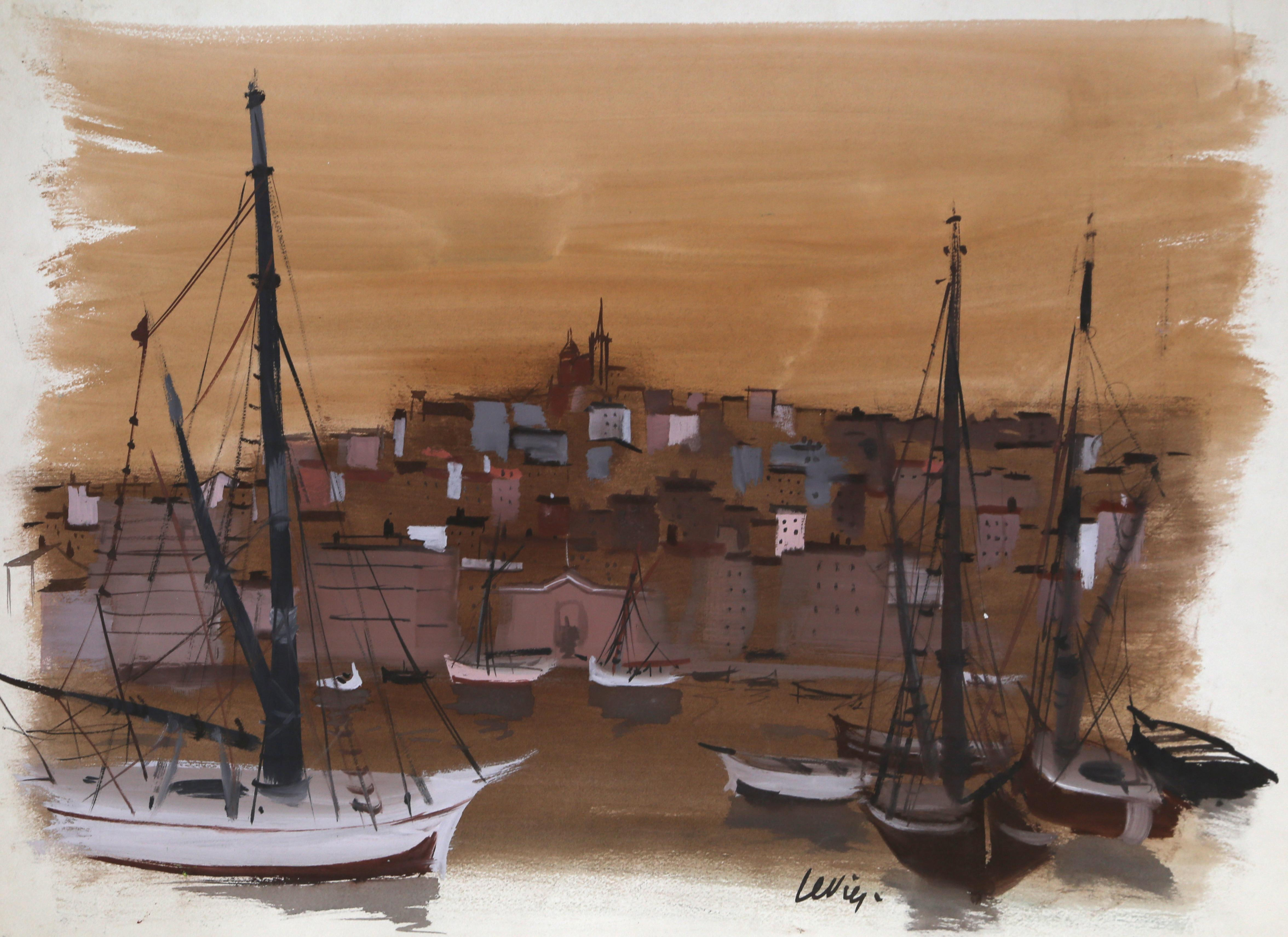Marseilles Harbor, Watercolor Painting by Charles Levier
